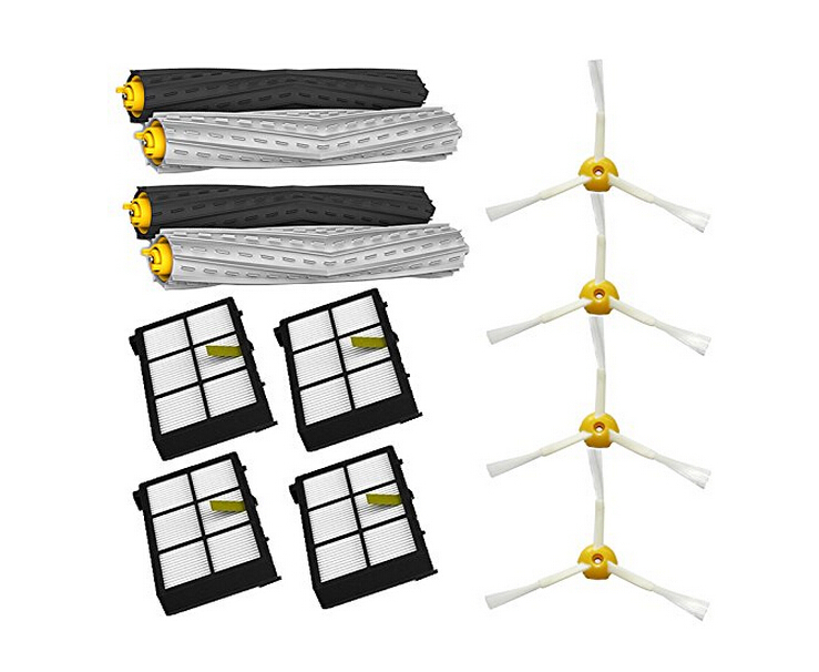 12pcs/lot Tangle-Free Debris Extractor Set &amp; Side Brushes &amp; Hepa Filters replacement Kit For iRobot Roomba 800 series 870 880<br><br>Aliexpress