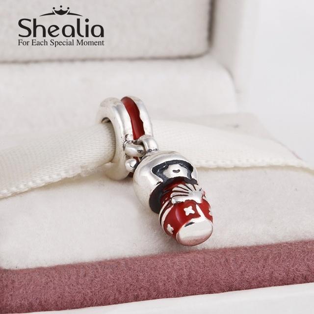 Shealia ювелирные изделия 925-sterling-silver красной эмалью японская кукла мотаться подвески подвеска для женщин известный браслеты diy изготовления ювелирных изделий