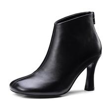 ENMAYER 2018 Sıcak satış Kahverengi Siyah Eşek toynak çizmeler yüksek kaliteli koyun derisi yüksek topuklu moda yarım çizmeler Size34-39 ZYL153(China)