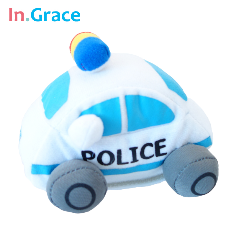 high quality handmade stuffed 112 police cars cute mini police cars plush toy for baby early learning toy cars free shipping(China (Mainland))