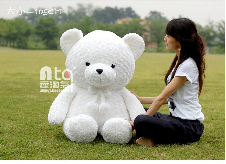 big lovely white teddy bear toy plush rose fat teddy bear gift about 105cm(China (Mainland))