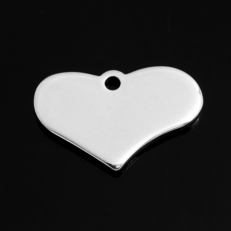 2*20PCs Stainless Steel Heart Charm Pendants Blank Stamping Tags Silver Tone 19x12mm For Making jewelry(China (Mainland))