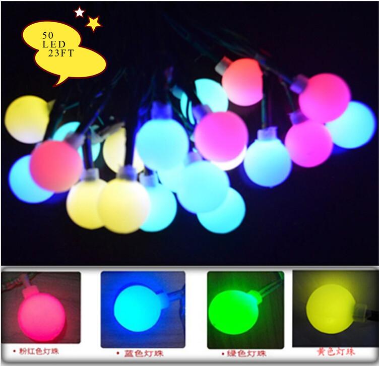 Free Shipping 7M 50 LED Solar Colorful Cherry Balls Fairy Solar String lights Decoration Christmas Garden Wedding(China (Mainland))