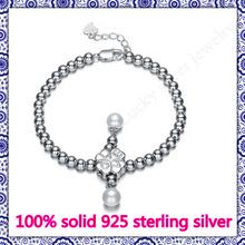 Sterling-Silver-Jewelry  Bracelet & Bangle  For Women Real 925 Sterling Silver Jewelry  Shell Pearl Heart Bead Charm Bracelet(China (Mainland))