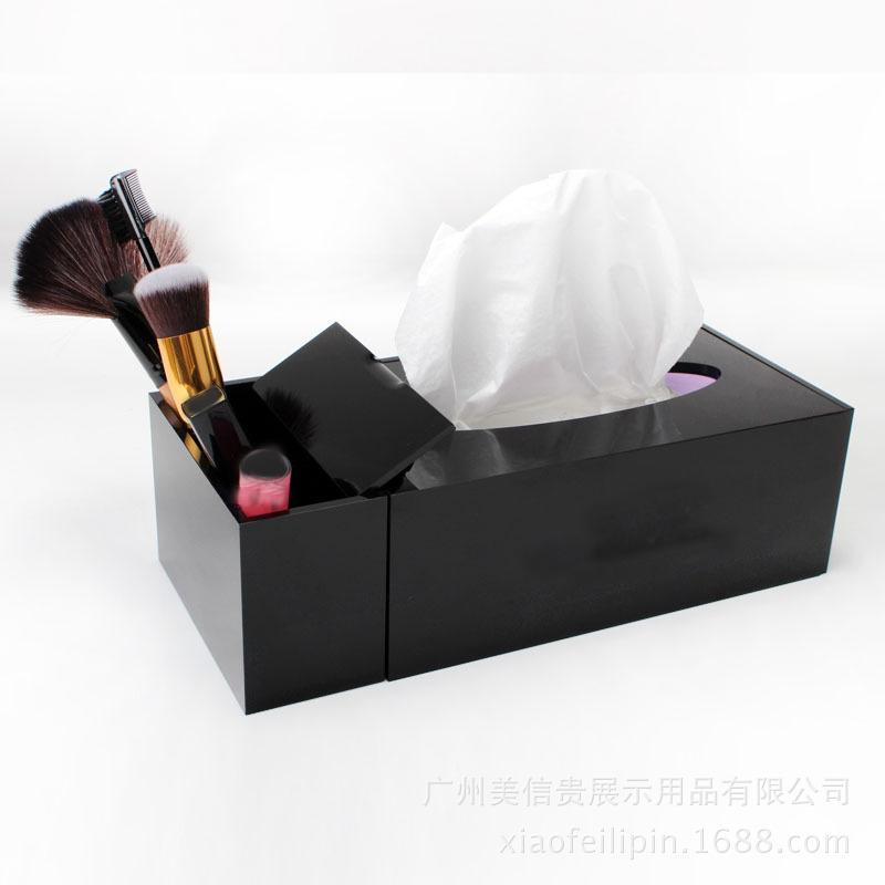 Black Acrylic Make up Desktop Swab Organizer Tissue Boxes Cosmetics Lipstick Makeup Combination Storage Tissue Box(China (Mainland))