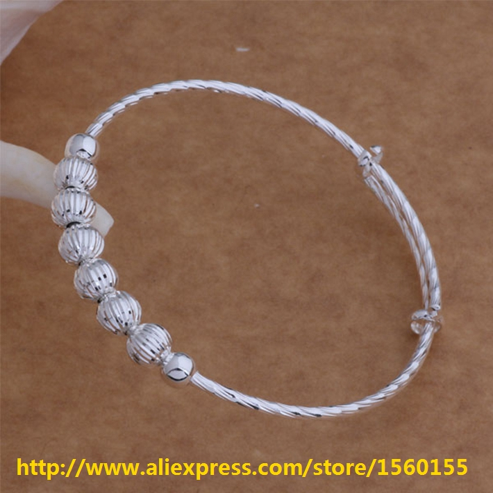 Wholesale 925 sterling silver bangle,New arrival Free shipping fashion jewelry Seven bead bracelet /SZ-AB008(China (Mainland))