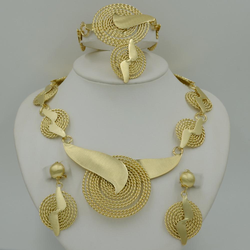 2015 Handmade Dubai Gold Plated Jewelry Sets 14K Fashion Big Nigerian Wedding African Beads Jewelry Sets Costume Dubai For Women