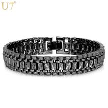 Buy U7 Bracelet Men Jewelry Punk Rock Style Black Gun/Silver/Gold Color 19cm 12MM Chunky Chain Link Bracelets Bangles Wholesale H550 for $6.92 in AliExpress store