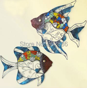 Fish Rust Free Hand Painted Metal Fishes Wall Hanging Art Decor Home
