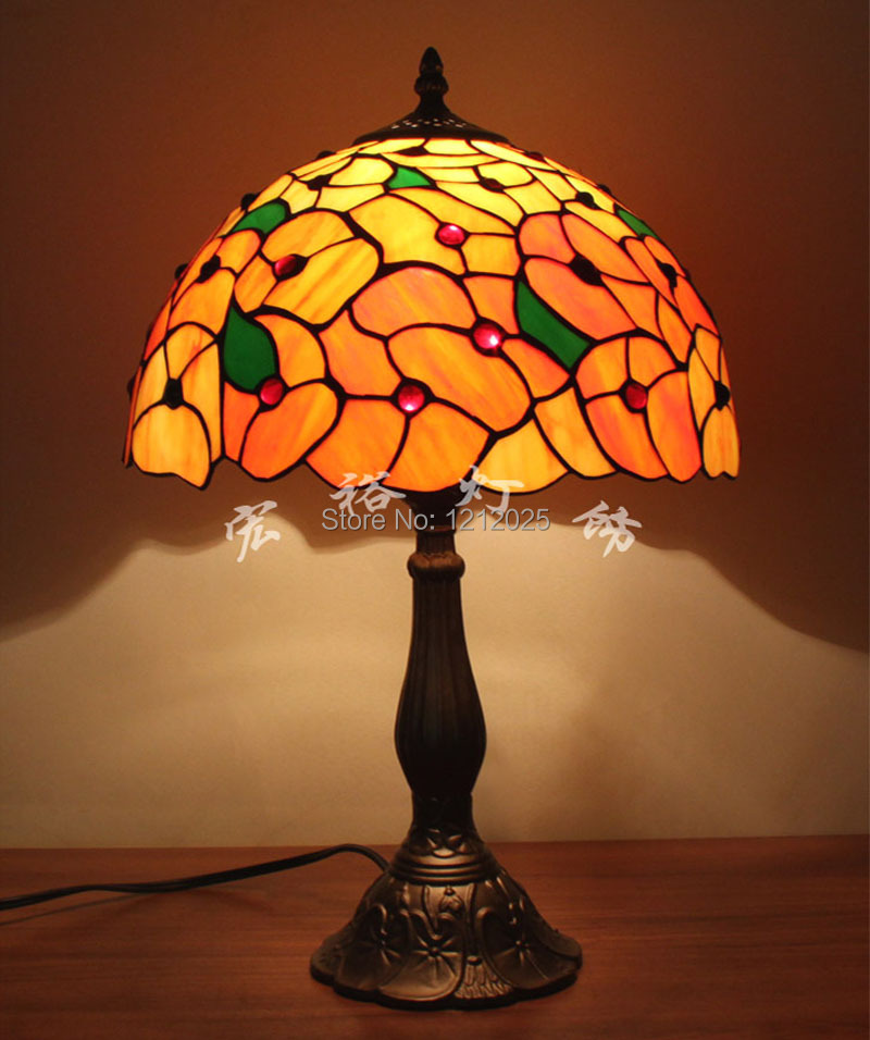 Vintage w12 tiffany style floral table lamp bedroom desk for Home decorators lamps