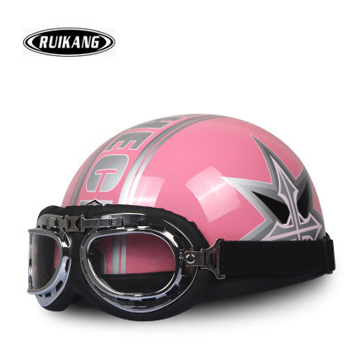J.71 Free Shipping HOT ABS Half Face Motorbike Casco Cycling Motorcycle Bright Pink Half Star Helmet & UV Goggles Adult Summer(China (Mainland))