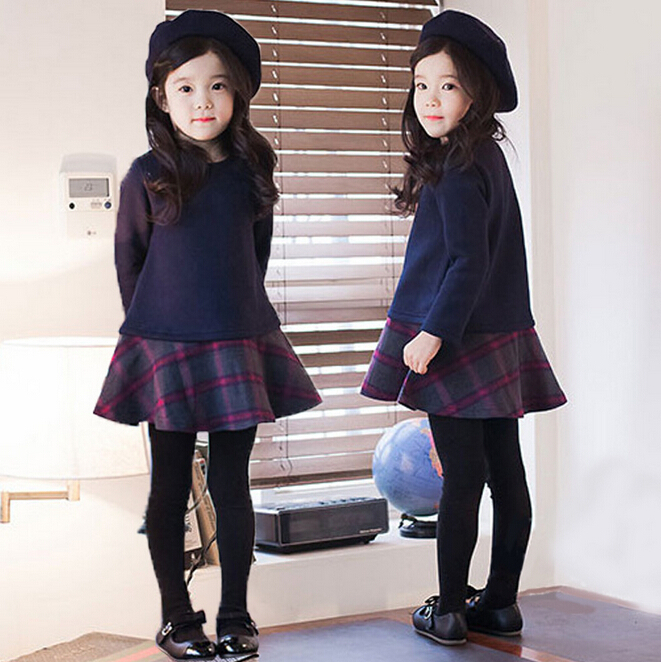 girl dresses 2015 Spring Kids girls bow dress solid color long-sleeved dress free shipping Hot sale<br><br>Aliexpress