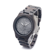 BOBO BIRD Ebony Wooden Watch Sparkling Dial Japan Quartz Wood Band Watches for Men Women Cool Lug Mens Watches as Gift Relogio