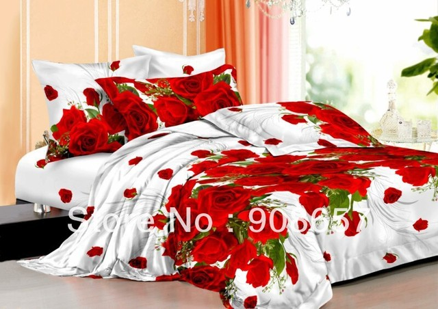 red romantic rose flower cheaper 3D bedding sets discount oil painted print queen/full duvet covers sets 4pc for quilt/comforter