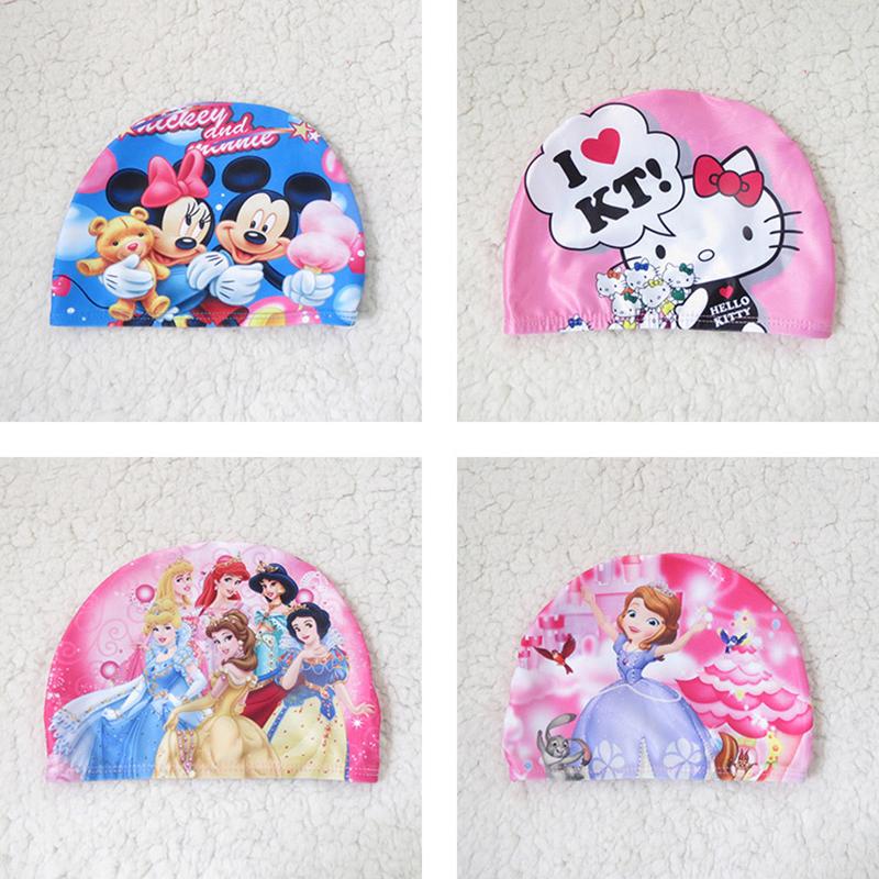 Girls Hello Kitty Swimming Caps 2016 Kids Waterproof Protect Ears Long Hair Sports Swim Hat Bathing Cap(China (Mainland))