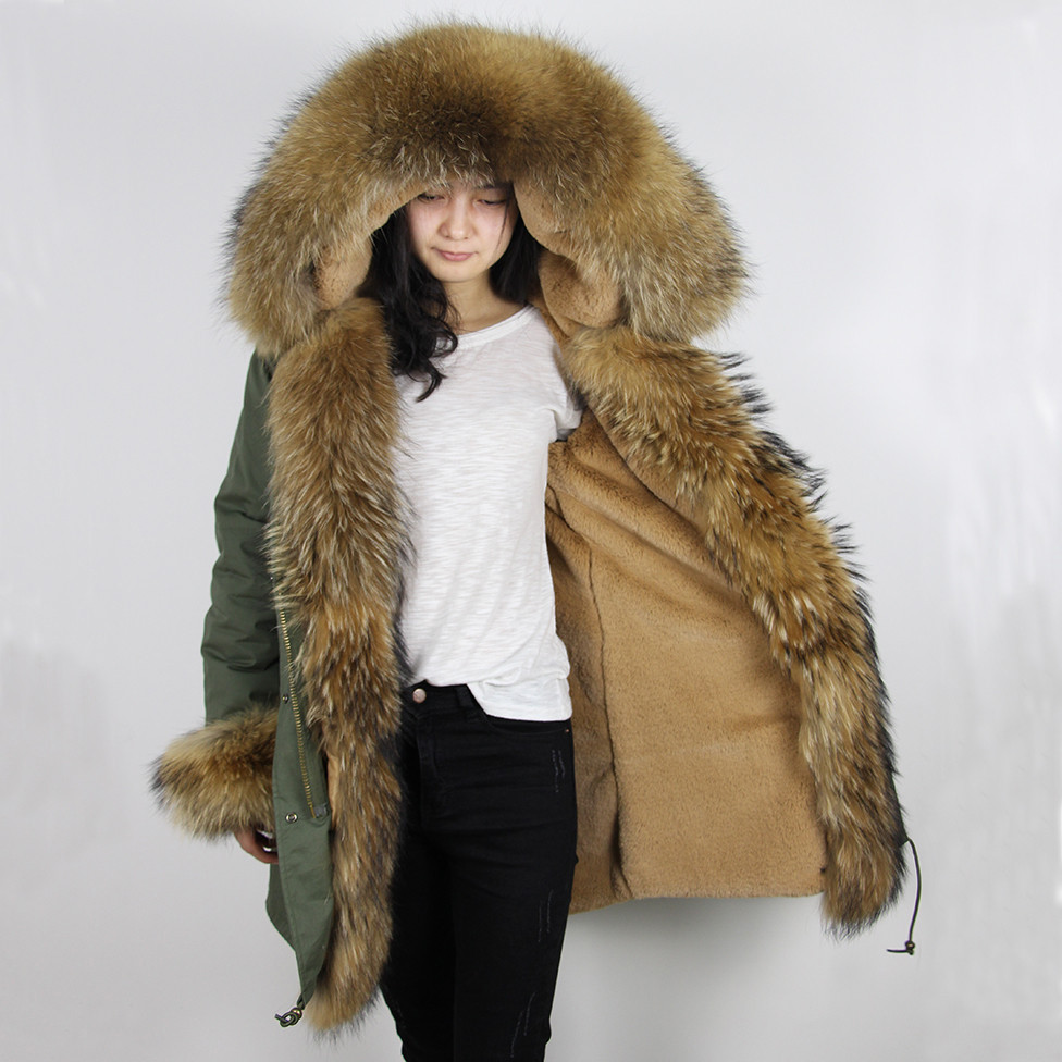 Popular Womens Real Fur Parka Coats Khaki-Buy Cheap Womens Real