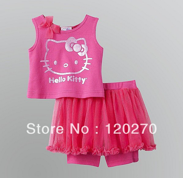Free Shipping Summer Hello Kitty Girls Cartoon Bow Vest T-shirt Culotte Veil PP Shorts Pants Two-Piece Suit Toddler Clothes Suit(China (Mainland))