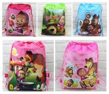 Free shipping 24pcs/lot Masha and the bear Drawstring Bag Backpacks,Masha and the bear school bags(China (Mainland))