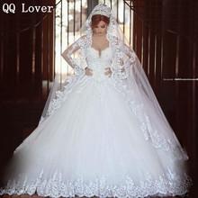 Luxury Vintage Long Sleeves Lace Wedding Dress 2017 Ball Gown Princess casamento romantico Bridal Wedding Gowns Vestido De Noiva(China (Mainland))