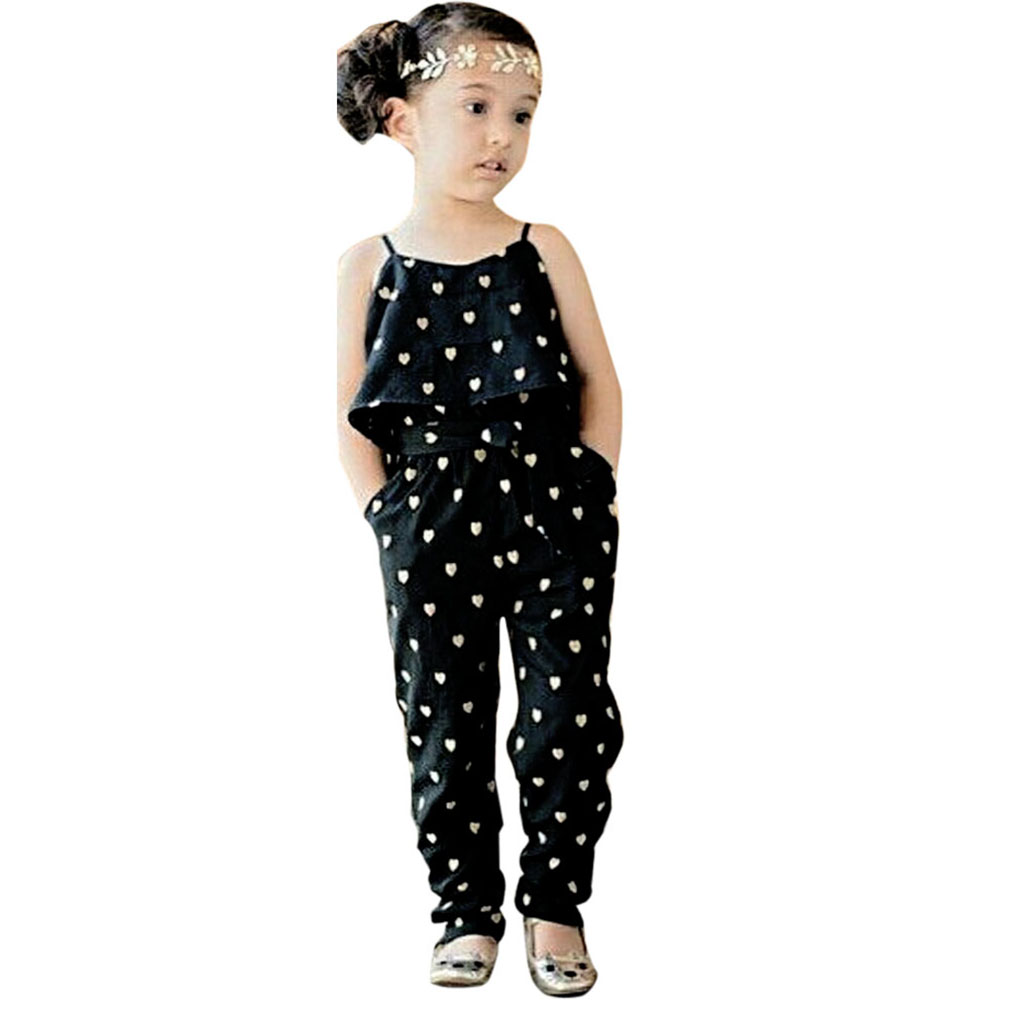 2016 summer style girls heart jumpsuit hot selling kids clothes baby girls fashion sling black siamese pants baby girls clothes(China (Mainland))