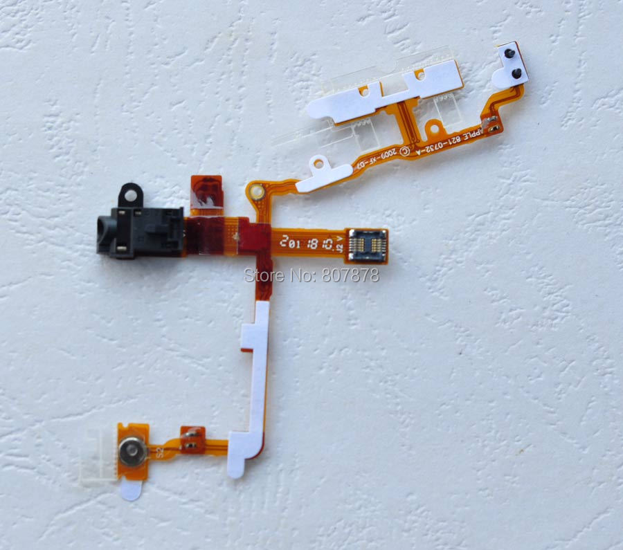 5pcs/lots New Headphone Audio Jack + Power Button and Volume Flex Cable For iPhone 3G 3GS Replacement Parts + Free Shipping(China (Mainland))