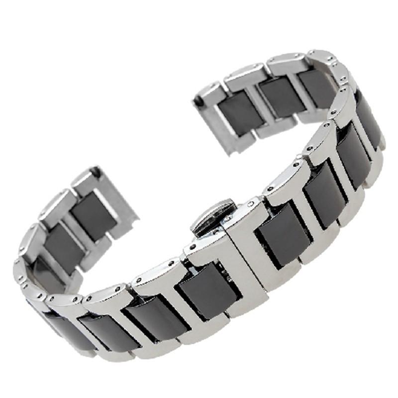Ремешок для часов керамический черный с стали 16 мм 20 мм ремни общий интерфейс прочные связи бабочка пряжка подходит мужчины женщины ювелирные часы