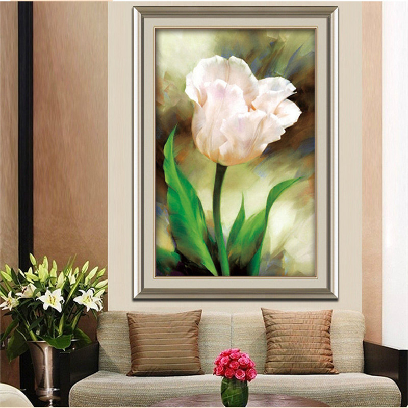 HOt sale Flower 5D DIY Diamonds Embroidery <font><b>Elegant</b></font> tulips Round Diamond Painting Cross Stitch Kits <font><b>Home</b></font> <font><b>decoration</b></font>