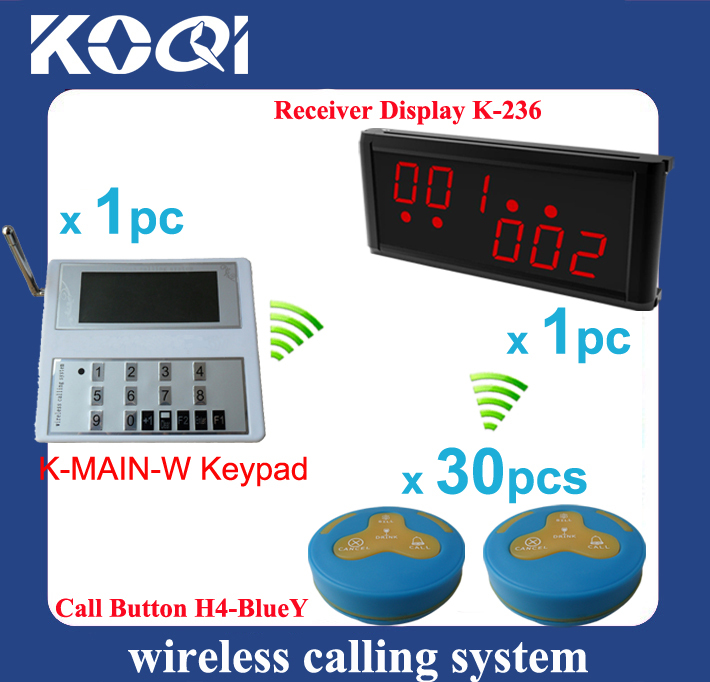 Restaurant order device one kit with 1 kitchen keyboard + 1 counter display + 30 table press buzzer waterproof(China (Mainland))