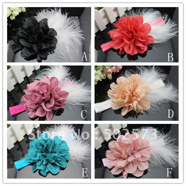 Wrinkle Cotton Flower Headbands Feather Headbands Photography Prop 120PCS/LOT QueenBaby(China (Mainland))