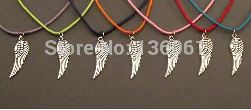 Fashion Vintage Silvers Angels Wing Charms Statement Mixing Wax Line Choker Necklace Pendants Women Jewelry DIY 20PCS X445(China (Mainland))