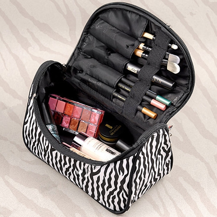 Women Lady Makeup Cosmetic Bags & Cases Travel Kit Functional Bag Toiletry Bag Zebra Travel Handbag Bag of Makeup Storage(China (Mainland))