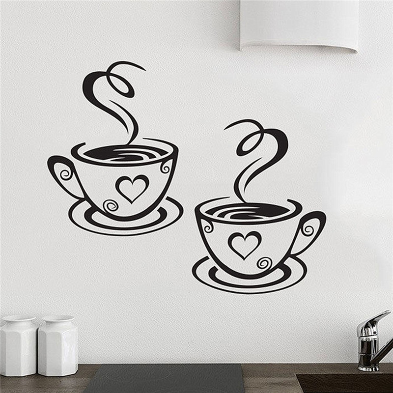New Arrival Beautiful Design Coffee Cups Cafe Tea Wall Stickers Art Vinyl Decal Kitchen Restaurant Pub Decor(China (Mainland))
