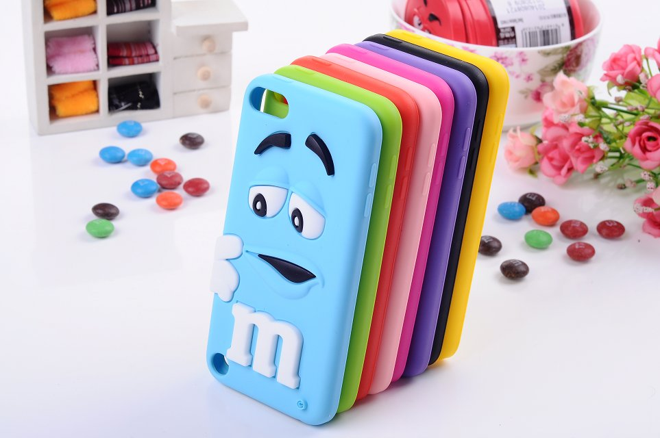 3D M&M's Chocolate Rainbow Beans Case For APPLE iPOD TOUCH 5 5TH / Touch 6 6th Soft Silicone Back Cover(China (Mainland))