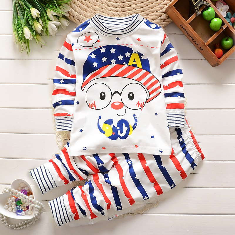 2017 Autumn Baby Boy Girl Clothes Long Sleeve Top + Pants 2pcs Sport Suit Baby Clothing Set Newborn Infant Clothing Bebe(China (Mainland))