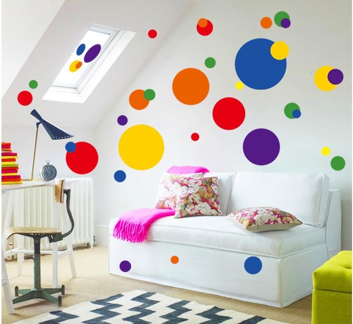 Wall decor stickers circles : Modern geometric bubble rings pattern wall stickers round