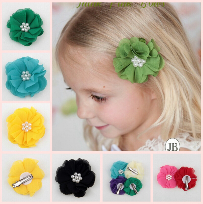 Baby Hair Clips For Girls Princess Chiffon Fabric Flower Hair Clip with Pearls Kids Children Accessories(China (Mainland))