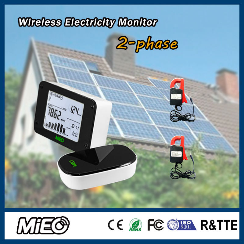 Wireless Electricity Energy Monitor Saver for Renew Power Generation LED or Solar Saving Project Two Phase HA102 CT4 Mieo(China (Mainland))