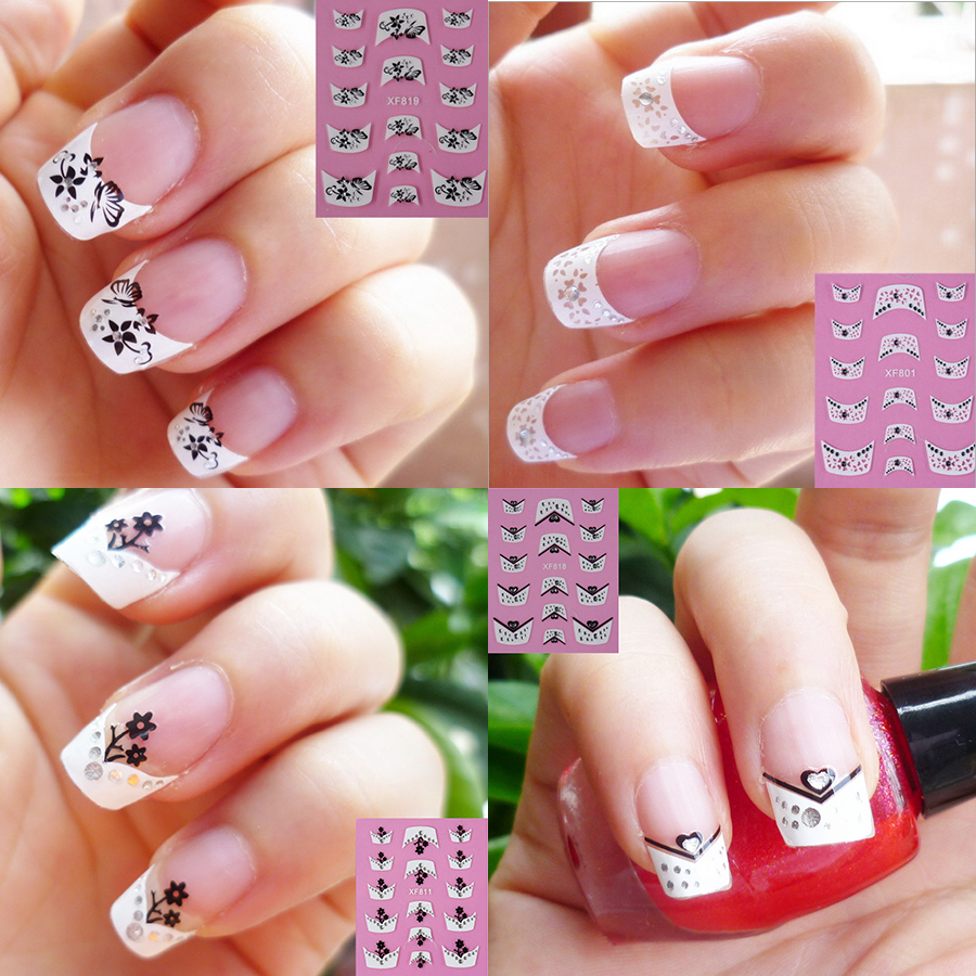 20Packs French Style Sticker Elegant 3D Stylish Decal Nail Art France Manicure Tips Nail Design Stickers XF801-820(China (Mainland))