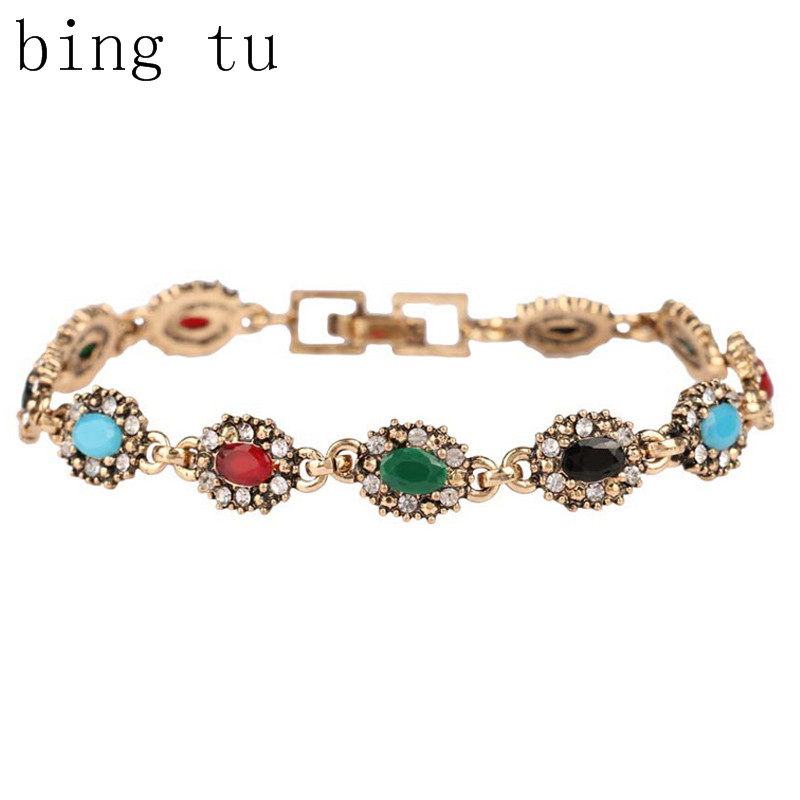 Bing Tu Brand Lucky Women Charm Jewelry Fashion Mixed Colors Resin Chain Bracelets Vintage Gift bijoux pulseira(China (Mainland))