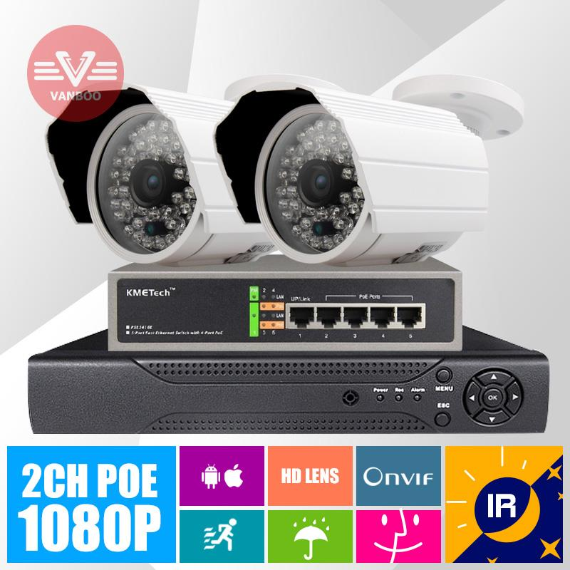 2CH POE Power Over Ethernet 2MP 1920*1080P ONVIF Outdoor IR Night Vision Bullet P2P Home Security Camera System(China (Mainland))