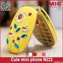 Flip lovely unlocked cartoon sunflower small women kids girls diamond cute mini cell mobile phone cellphone N222 P202