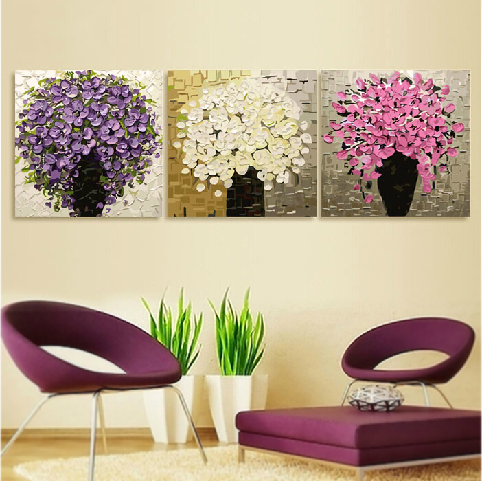 Hand Painted Modern Abstract Oil flowers Canvas Painting 3 Pieces Home Decoration Large Wall Art Picture Set  P064