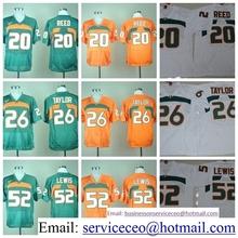 College Miami Hurricanes 20 Ed Reed 15 Brad Kaaya Shirt 26 Sean Taylor 52 Ray Lewis Green Orange White product(China (Mainland))