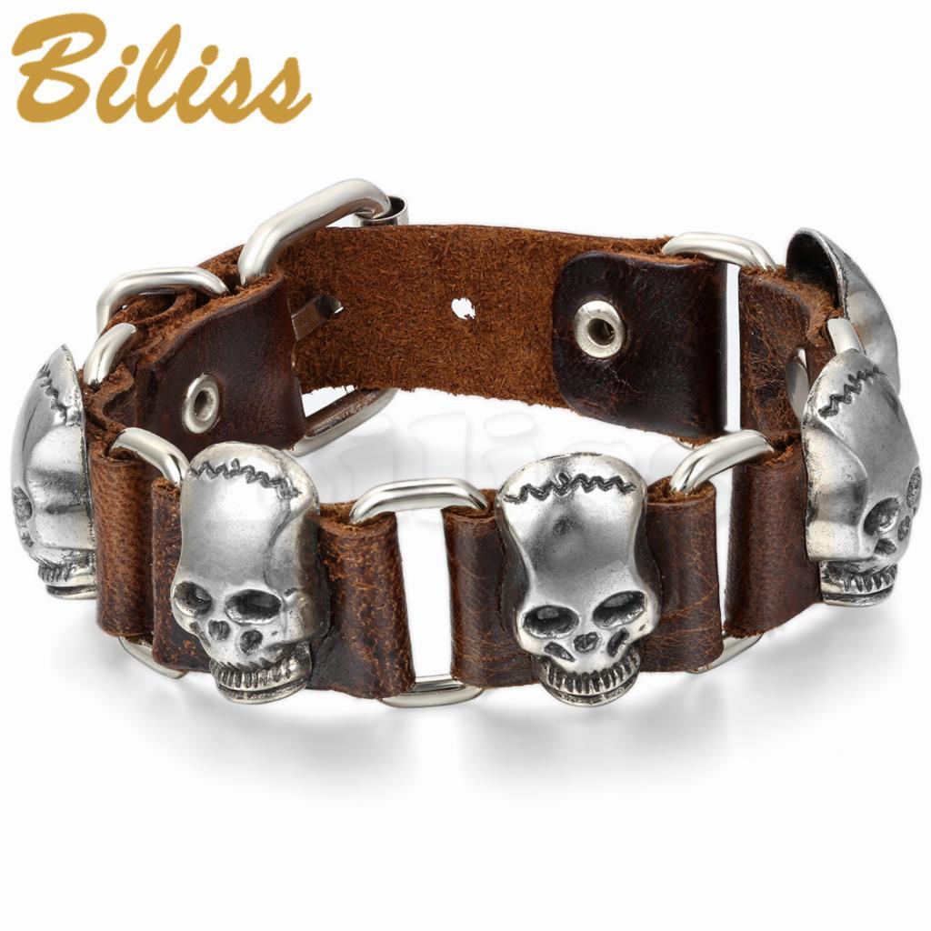 Brown Black Punk Style Skeleton Skull Bracelet Leather Charm Bracelets Bangles for Men Jewelry 9.6 Inch pulseira de couro(China (Mainland))