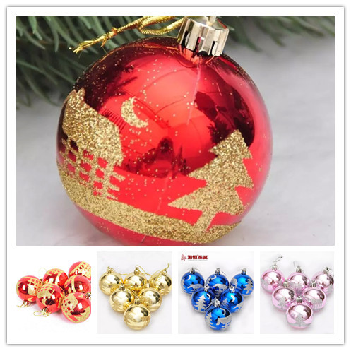 2015 new 30 pieces Christmas Tree Ornaments 6cm light house tree pattern painted Christmas ball(China (Mainland))