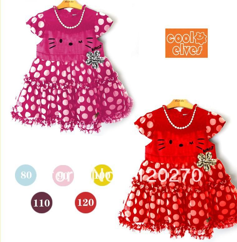 Free Shipping Summer Baby Girls Hello Kitty Polka Dot Cat Pattern Infants Toddlers Short-Sleeve Dress Children's One-Piece Dress(China (Mainland))