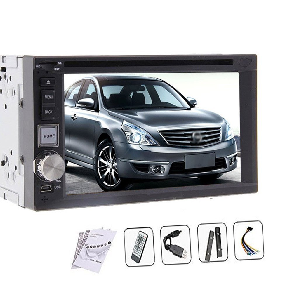 6.2 Inch Car DVD CD Player Radio Stereo In dash Universal Head Unit Car PC High Def Double Din Touch Screen Bluetooth SD USB