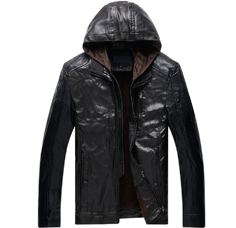 2015 Full Jacket Men Conventional Zipper Rushed Direct Selling Mens Leather Jacket Motorcycle Detachable Cap A Stand Collar Coat(China (Mainland))