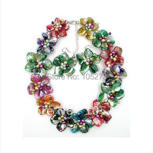 Здесь можно купить  Colorful Mother of Pearl Shell Freshwater Pearl Flower Necklace /Earring Set 18
