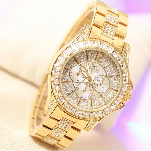 2015 New Women Full Rhinestone Watches Lady Shining Dress Watch Stainless Steel Gold Bracelet Wristwatch Ladies diamond - FXY Jewellery & Co., Ltd store